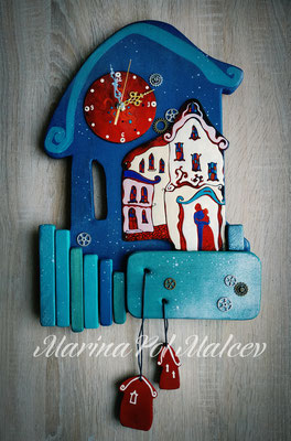"""Wall clock   MEETITG IN LEUVEN  Hot enamel on copper, handmade wood Steampunk Old houses Gift for Christmas Town and two Decorative exclusive Handmade art Часы-панно """"Лёвен"""". медь, горячая эмаль, дерево"""