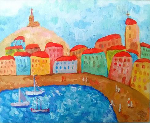 "Painting "" Old Port of Marseille"" acrylic on canvas, 40x40 cm, 2017    Живопись ""Марсельский старый порт"". Холст, акрил, 40Х40 см, 2017 год"