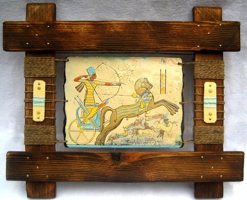 RAMZES (Egypt triptych part 1) copper, hot enamel, hand-made wood, hemp, 2010 РАМЗЕС (1 часть триптиха Египет)   медь, горячая эмаль, дерево ручной обработки, пенька, 2010 г