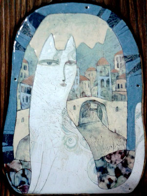 CAT OF KOTOR   Painting Portrait of a cat White cat Old city Nature Pastel gamma Mountains Fortress wall copper, hot enamel  2013   КОТОРСКАЯ КОШЕЧКА  медь, горячая эмаль