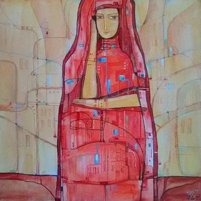 Мадам в красном.     Холст, смешанная техника, 40Х40 см, 2017 г.