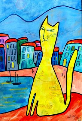 "Painting ""Yellow Cat"" acrylic on canvas, 50x35 cm, 2017   Живопись ""Жёлтый кот"". Холст, акрил, 50Х35 см, 2017 год"