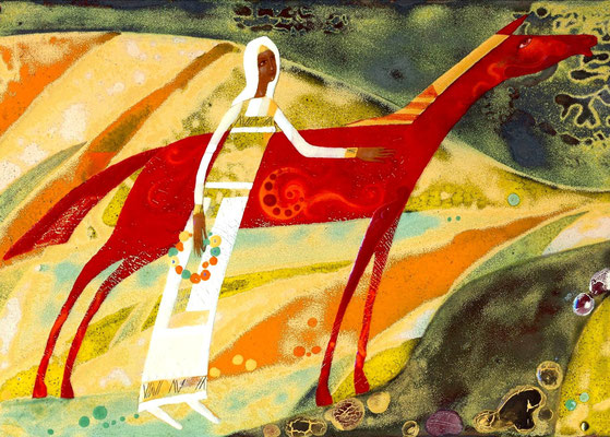 MORNING (from the series Woman of the World) Painting Red Horse and Girl National сostume Red and yellow gamma River Dawn Song 2006, copper, hot enamel  УТРО (из серии Женщины Мира) медь, горячая эмаль