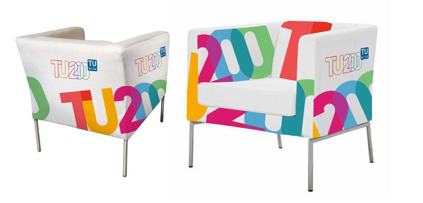 Anordnung des Motivs auf den Stuhl in 3D