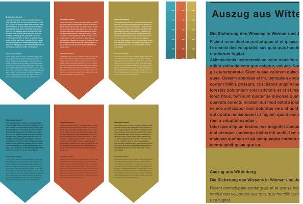 Farbentwürfe der Druckvorlage für die Ausstellung in Weimar