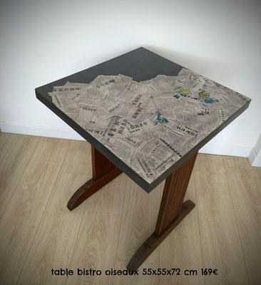 Table bistrot oiseaux 55x55x72cm 169€