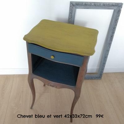Chevet bleu et vert 42x33x72cm  99€