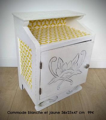 Commode blanche et jaune 36x25x47cm 99€