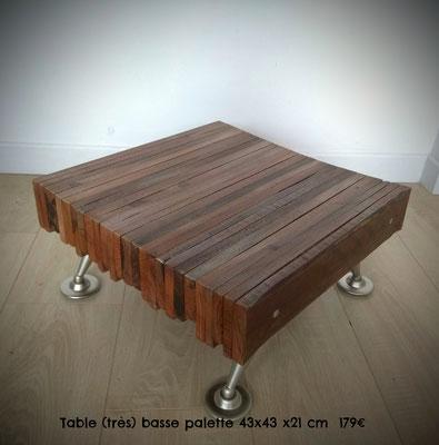 Table (très) basse palette 43x43x21cm 179€