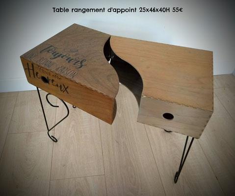 Table rangement d'appoint 25x46x40H 55€
