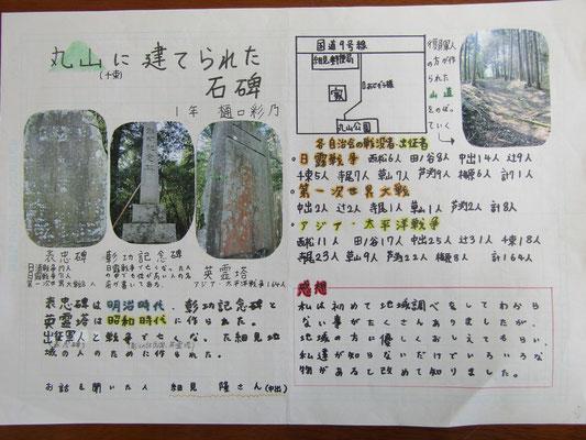丸山(千束)に建てられた石碑