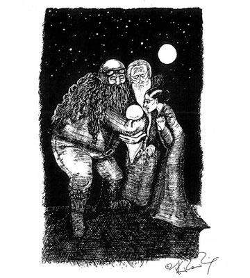 Hagrid, Dumbledore et McGonagall devant Harry, bébé