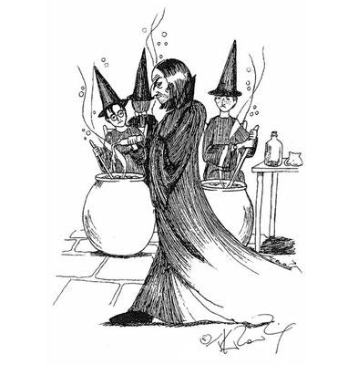 Rogue et ses élèves en cours de potions