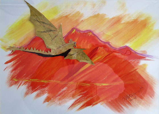 The golden Dragon. Acryl auf Papier 40 x 30 cm 25.00