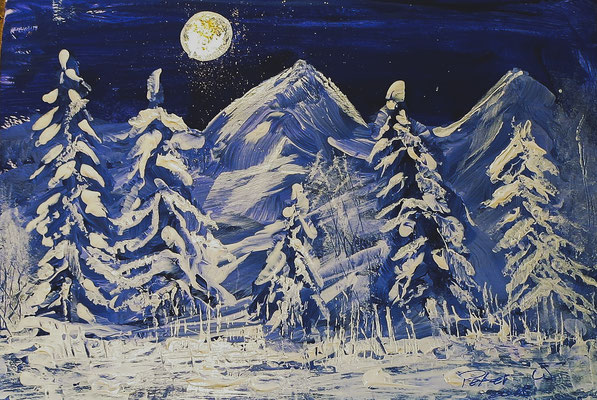 Winter am Fluss Acryl auf Papeir 18 x 21 cm