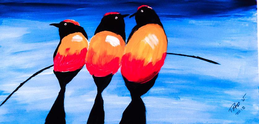 Die Vögel Acryl auf Leinwand 60 x 30 cm