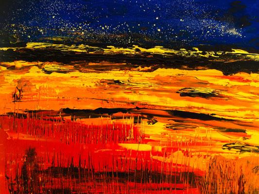 Goldener Horizont, Acryl auf Malkarton 40 x 30 cm