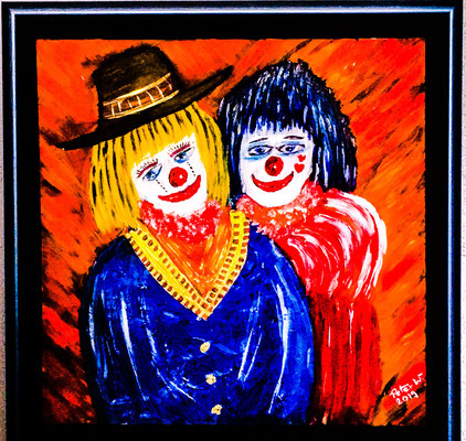 The Clowns, Acryl auf Leinwand 60 x 60 cm