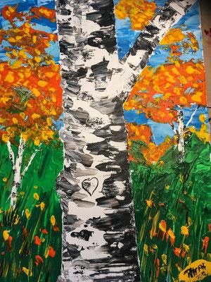 Birke im Herbst, Acyl auf Malkarton 40 x 30 cm