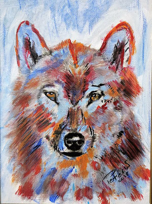 Bunter Wolf,  Acryl auf Leinwand 25 x 18 cm