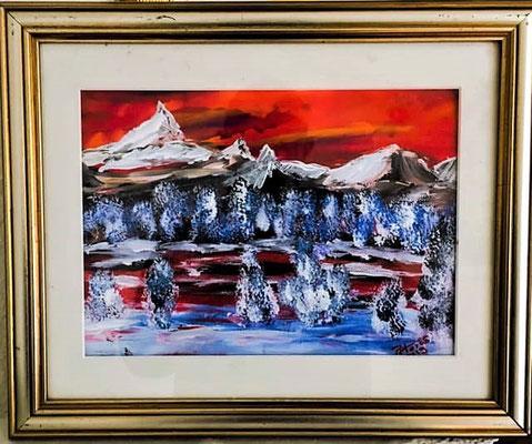 Wintermorgen, Acryl auf Papier 30 x 20 cm