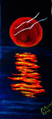 Flying to the Moon, Acryl auf Leinwand 25 x 60 cm