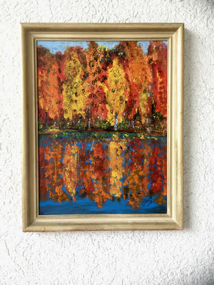 Indian summer, Acyl auf Holz 30 x 42 cm