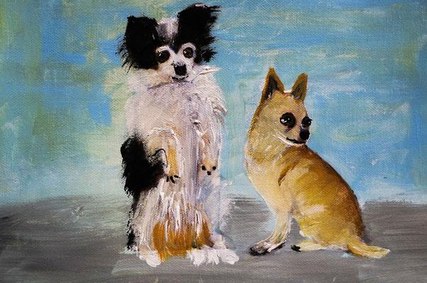Onya und Bionda. Acryl auf Leinwand 25 x 20 cm. (Verkauft)