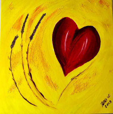 Herz der Provence Acryl auf Leinwand 50 x 50 cm