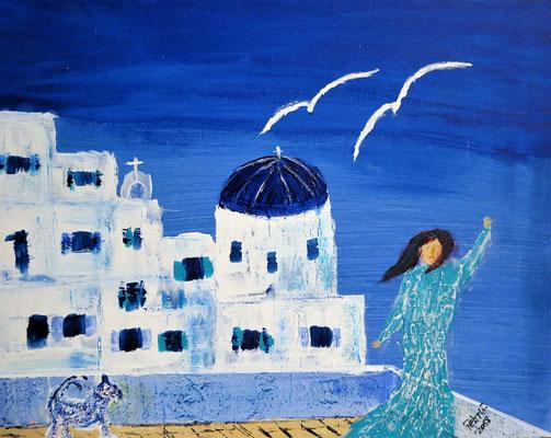 Blau weiss. Acryl auf Malkarton 50 x 40 cm 40.00