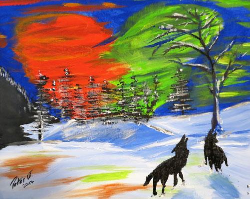 Wölfe im Nordlicht  (verkauft)