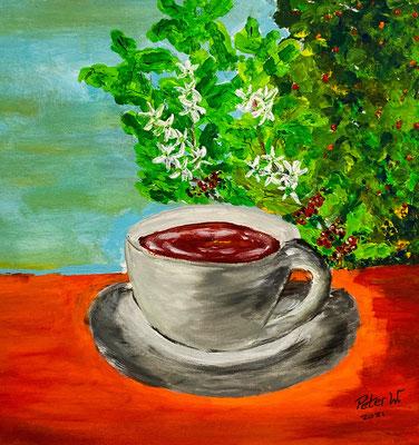 Der Kaffee ist fertig Acryl auf Leinwand 40 x 40 cm (verkauft)
