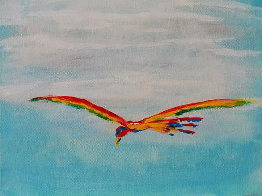 Papagei im Flug Acryl auf Malkarton 30 x 24 cm (verkauft)