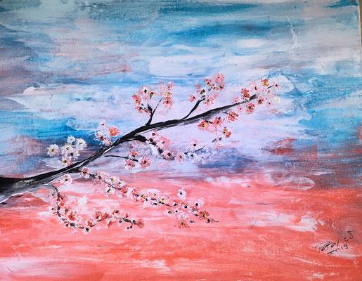 Blütenzweig Acryl auf Malkarton 40 x 30 cm
