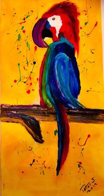 Papagei Acryl und Ölkreide auf Leinwand 40 x 80 cm