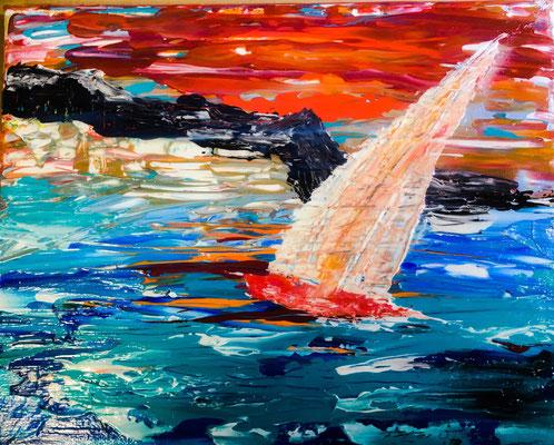 Land in Sicht. Acryl auf Leinwand 25 x 30 cm. Mit Perlglanz lackiert.