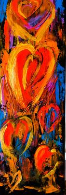 Herzen. Acryl auf Leinwand 25 x 78 cm