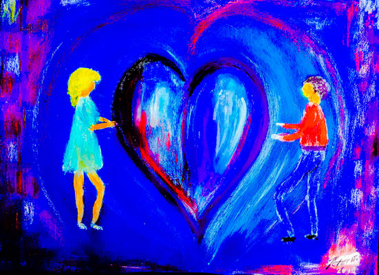 Herzliche Liebe Acryl und Ölkreide auf Spezialpaper 60 x 45 cm