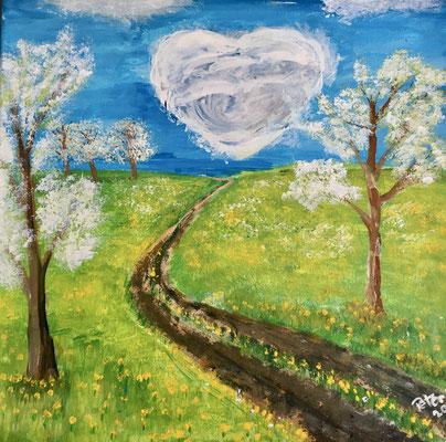 Frühlingsgefühle. Acryl auf Leinwand 40 x 40 cm