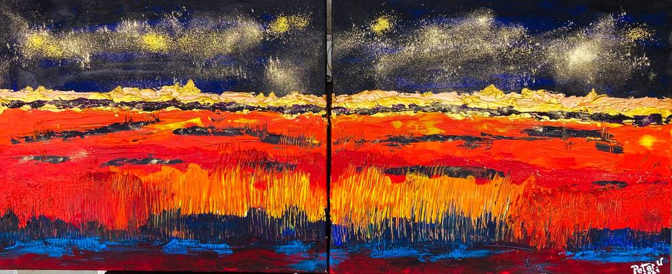 Sternenzauber. Acryl und Goldstaub auf Leinwand 2 mal 60 x 50 cm (verkauft)