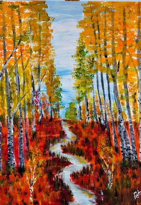 herbstlicher Birkenwald, Acryl auf Leinwand 40 x 50 cm