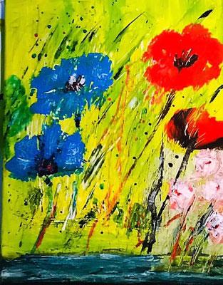 Sommerblumen Acryl auf Leinwand 24 x 30 cm
