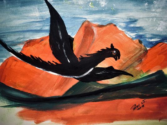 Der Drachenberg. Acryl auf Papier 40 x 30 cm (verkauft)