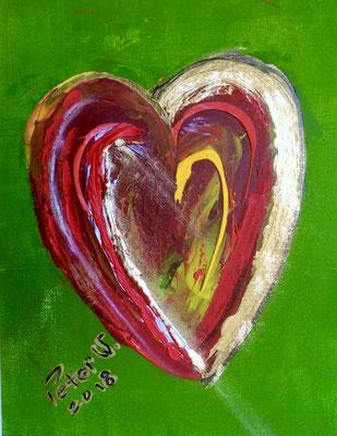 Gold Herz Acryl auf Malkarton 24 x 30 cm