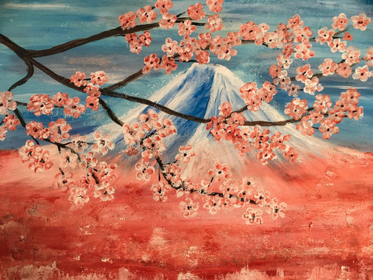 Frühling in Japan. Acryl auf Leinwand, 80x60cm.