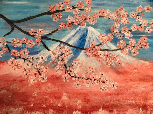 Frühling in Japan. Acryl auf Leinwand, 80x60cm. (verkauft)