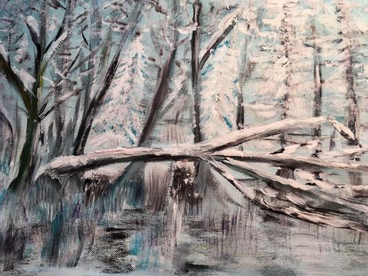 Winter am Waldweiher.  Acryl auf Spezialpapier 40 x 30 cm