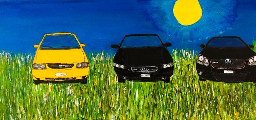 Autos von Monila. Acryl auf Leinwand 100 x 30 cm (Verkauft)
