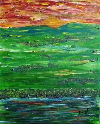 Irgendwo abstrakt. Mixed Media auf Malkarton 50 x 40 cm