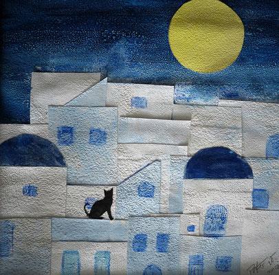 Griechische Träume in blau weiss. Mischtechnik und Collage auf Papier 40 x 40 cm 50.00